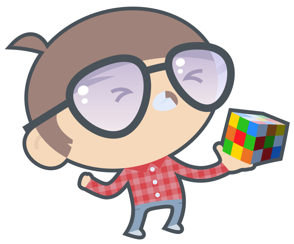 Boy with rubik's cube